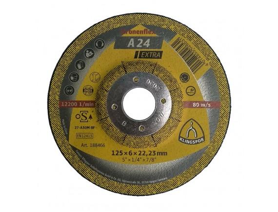Зачистной круг по металлу Klingspor 125х6х22,23 мм вогнутый центр