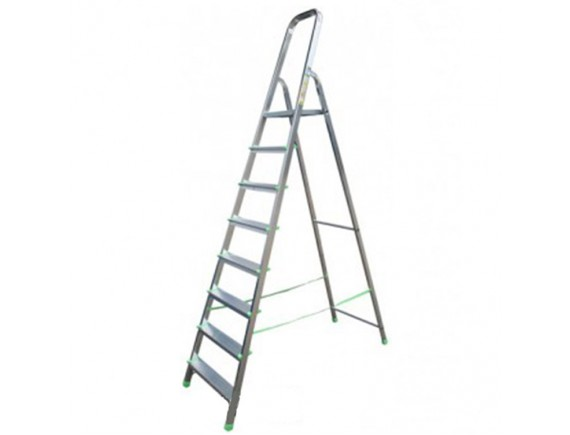 Стремянка алюминиевая свободно стоящая 8 ступеней длина 2,43 м