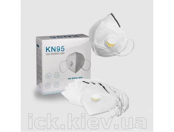 Респиратор kn95 ffp2 с клапаном 6 слоев, белый