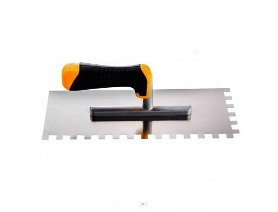 Гладилка 28х12 см нерж.сталь ручка 2 К зубчатая 12х12 мм
