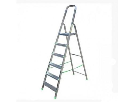 Стремянка алюминиевая 6 ступеней рабочая высота 3,3 м длинна 1,97 м