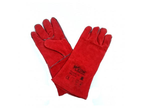 Перчатки замшевые, манжет крага, красного цвета WERK