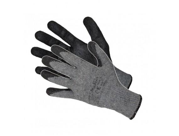 Перчатки трикотажные серые с черным латексным покрытием