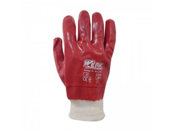 Перчатки с ПВХ покрытием WERK, красные, маслобензостойкие