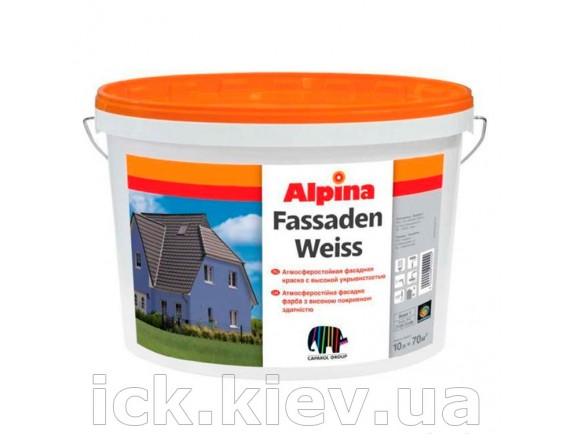 Водно-дисперсионная фасадная краска Alpina Fassadenweiss 10 л B1 белая