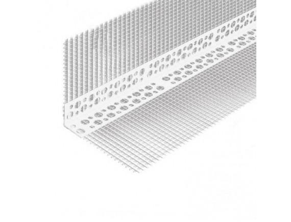 Угол ПВХ перфорированный с сеткой 3 м 10х10 см
