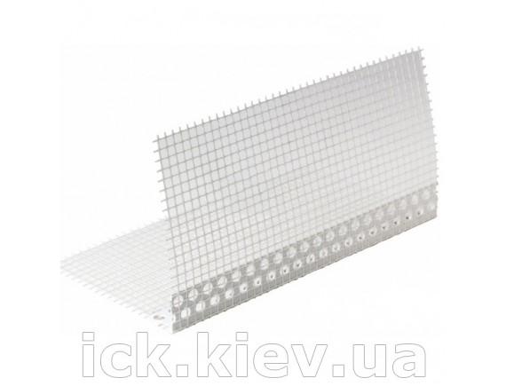 Уголок ПВХ перфорированный с сеткой 2,5 м 10x10 см 145 г/м2