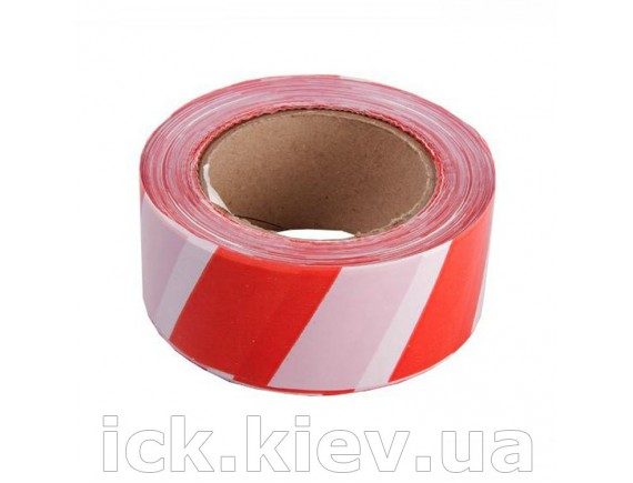 Лента сигнальная красно-белая 80 мм 100 м
