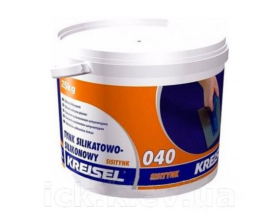 """Силикатно-силиконовая штукатурка """"Короед"""" Kreisel Sisiputz 040 зерно 2 мм 25 кг база А"""