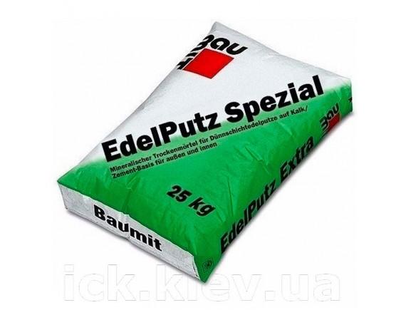 Штукатурка цементно-известковая «барашек» зерно 2.0 мм Baumit Edelputz Spezial 25 кг белая
