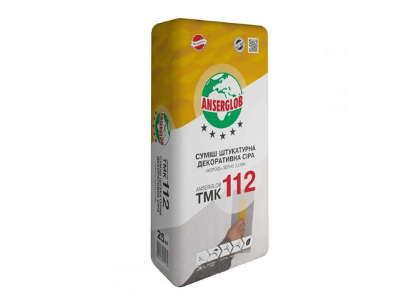 Смесь штукатурная декоративная серая короед Anserglob TMK 112 2,5 мм 25 кг